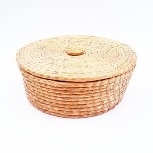 Other - STRAW Round Basket With Lid